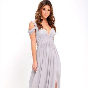Lulus Ocean of Elegance Gray Maxi Dress